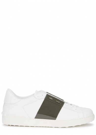 VALENTINO OPEN WHITE LEATHER TRAINERS