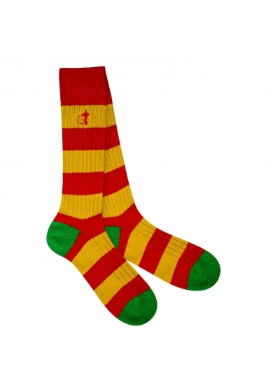 LONDON SOCK COMPANY Pitch Side Yellow & Red