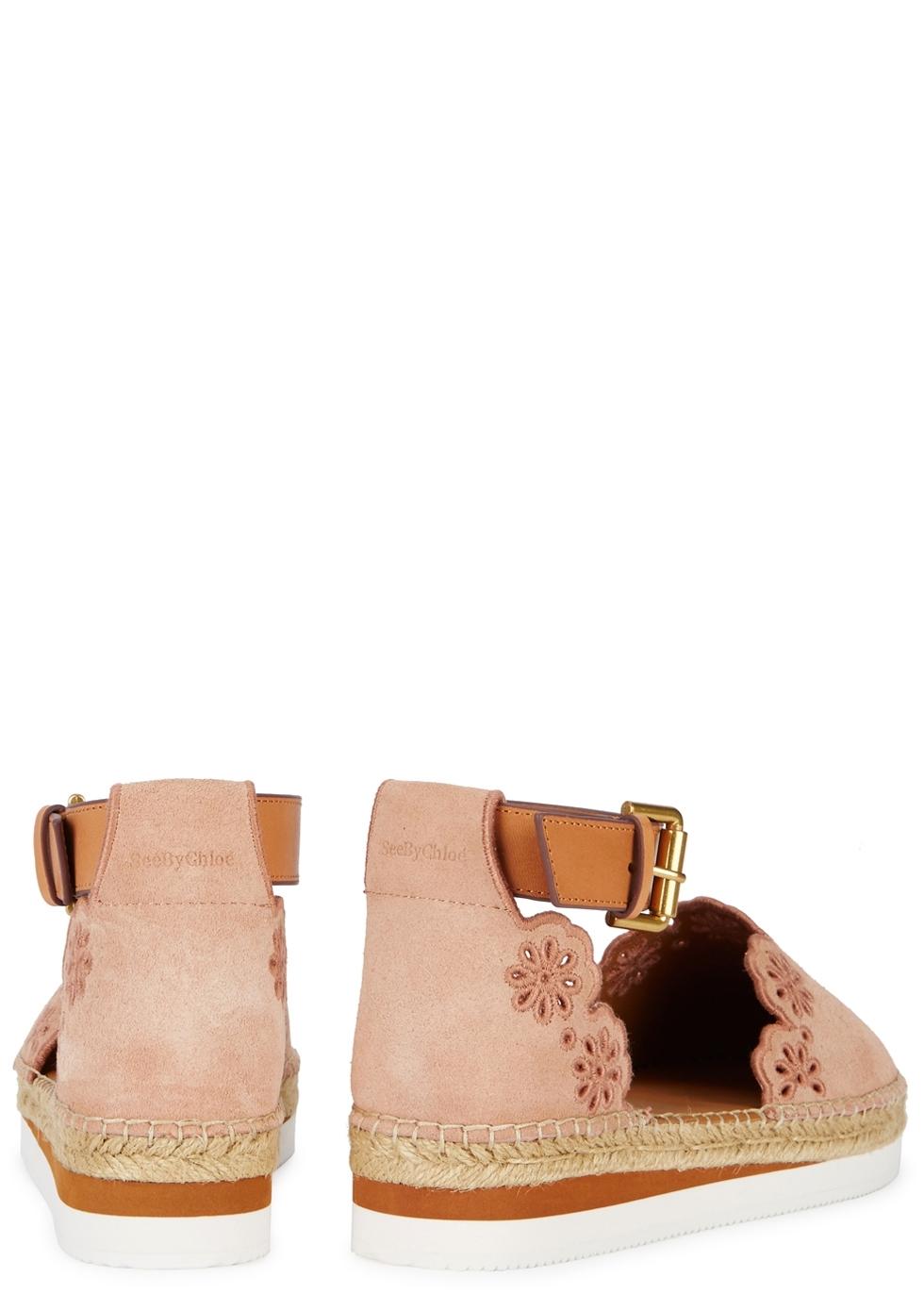 Sale Sneakernews Buy Cheap Fashion Style Chloé Glyn Blush Suede Espadrilles 30HILNCVwC