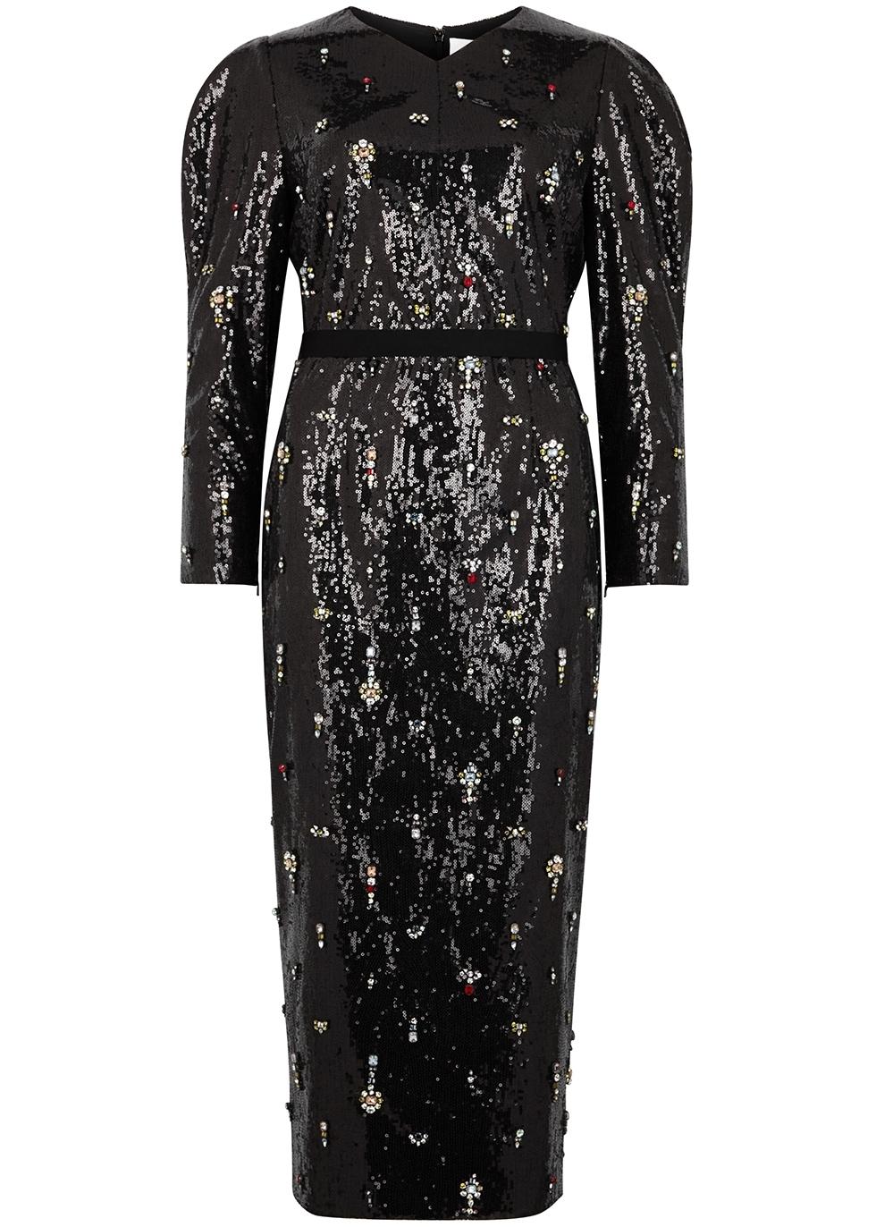 8c3b3fb8f0eb Erdem Emmy black embellished sequin dress - Harvey Nichols