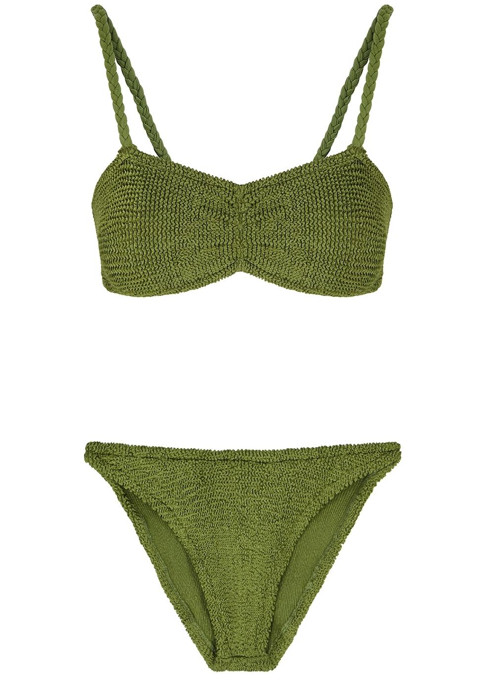 05fd2a3bae05a Hunza G Trina olive seersucker bikini - Harvey Nichols
