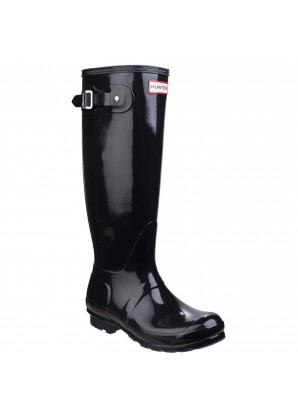 Hunter Womens original tall gloss wellington boots black