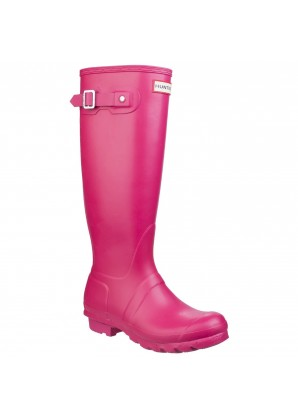 Hunter Womens original tall wellington boots pink