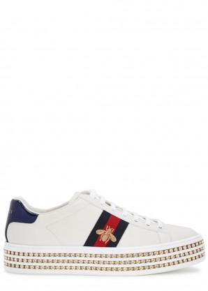 Gucci Ace crystal-embellished flatform sneakers