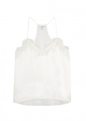 Cami NYC White lace-trimmed silk top