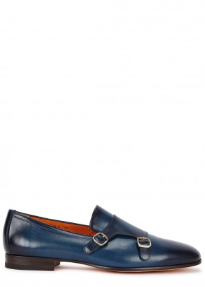 Santoni Blue leather monk-strap shoes