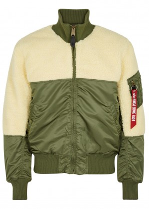 Alpha Industries Teddy faux shearling shell bomber jacket