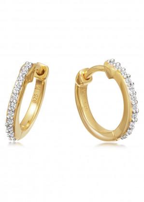 Missoma Pavé Huggie 18kt gold vermeil hoop earrings