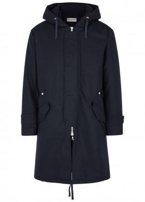 Officine Générale Navy hooded wool-blend coat