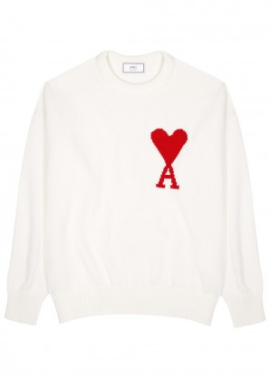AMI Cream logo-intarsia cotton jumper
