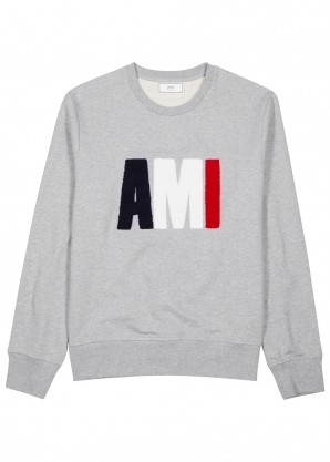 AMI Grey logo-appliquéd cotton sweatshirt