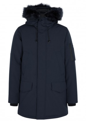 Kenzo Navy faux fur-trimmed shell parka