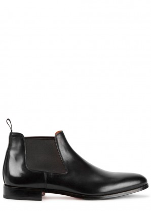 Santoni Kenneth black leather Chelsea boots