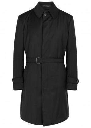 Emporio Armani Black wool twill trench coat