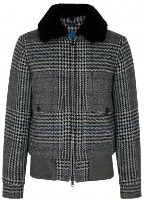 J.Lindeberg Checked shearling-trimmed wool-blend jacket
