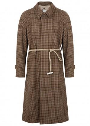 Maison Margiela Brown houndstooth wool coat