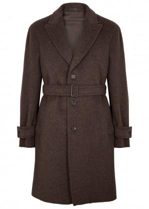 Lardini Dark brown alpaca and wool-blend coat