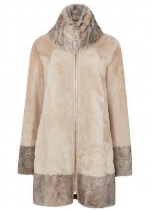 Dom Goor Almond reversible leather coat