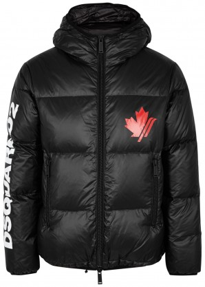 Dsquared2 Black logo-print quilted shell coat