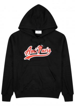 AMI Logo-appliquéd hooded cotton sweatshirt