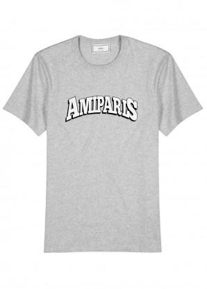 AMI Grey printed cotton T-shirt