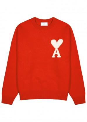 AMI Red logo-intarsia wool jumper