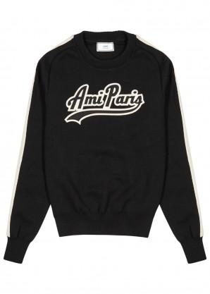 AMI Black logo-appliquéd wool jumper