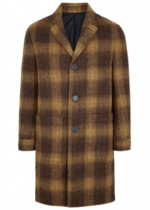 AMI Patch Pockets brown checked coat