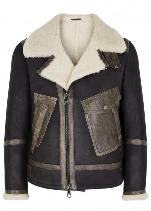 Neil Barrett Anthracite shearling-lined nubuck jacket