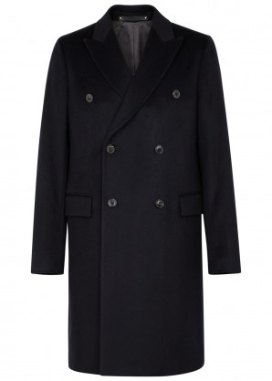 Paul Smith Navy double-breasted cashmere coat