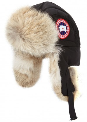 Canada Goose Black fur-trimmed shell aviator hat