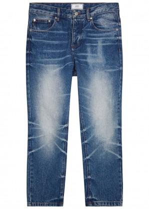 AMI Blue cropped slim-leg jeans