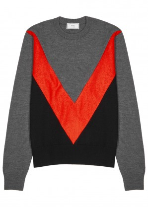 AMI Colour-blocked merino wool jumper