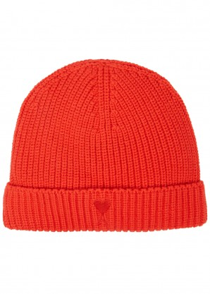 AMI Red ribbed wool-blend beanie