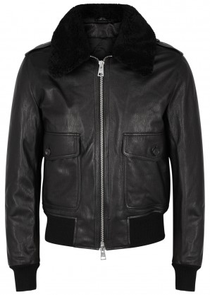 AMI Black shearling-trimmed leather bomber jacket