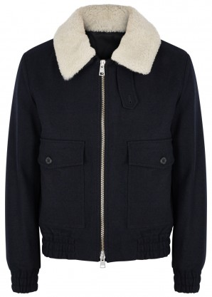 AMI Navy shearling-trimmed wool-blend jacket