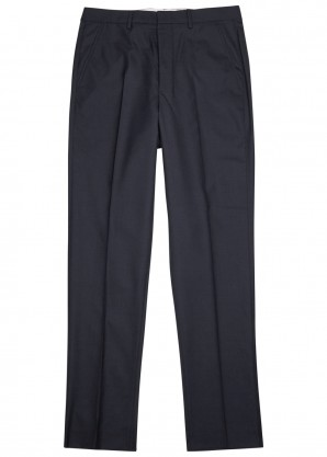 AMI Navy tapered-leg wool trousers