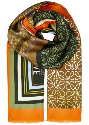 Logo-print silk twill scarf