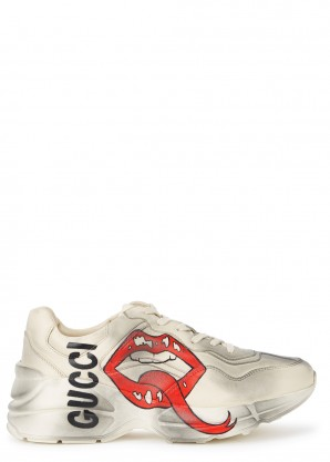 Gucci Rython ecru distressed leather sneakers