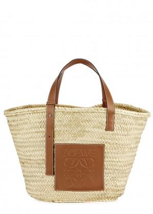 Loewe Large cream raffia basket bag