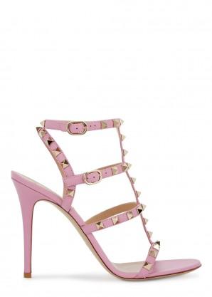 Valentino Garavani Rockstud 100 pink leather sandals