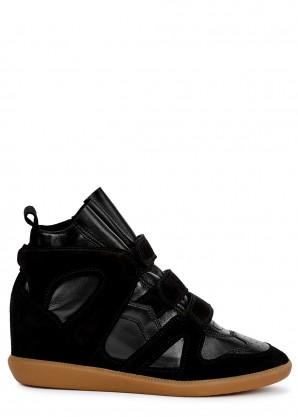 Isabel Marant Buckee 90 black leather wedge sneakers