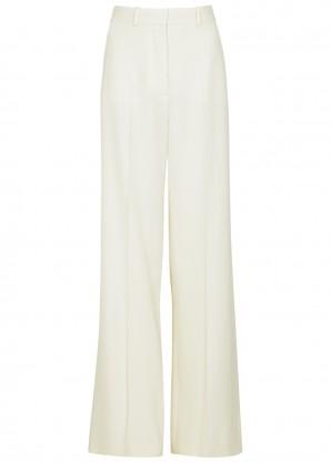 Ivory wide-leg wool trousers