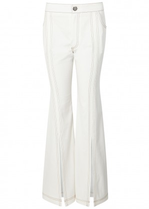 White high-rise flared jeans