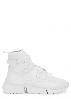 Chloé Sonnie white leather hi-top sneakers