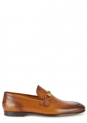 Gucci Jordaan burnished leather loafers