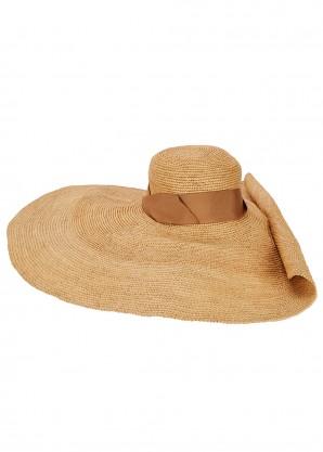 Glamour sand straw wide-brim hat