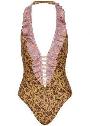 Juniper ruffle-trimmed plunge swimsuit