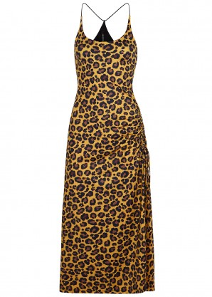 Adam Selman Sport Leopard-print stretch-jersey midi dress