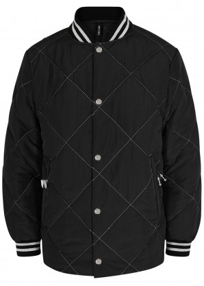 Adam Selman Sport Black metallic-weave quilted shell jacket